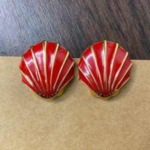 Vintage MONET Red Sea Shell Gold Tone Earrings